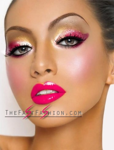 Fuscia Lips And Multi-Colored Eyes