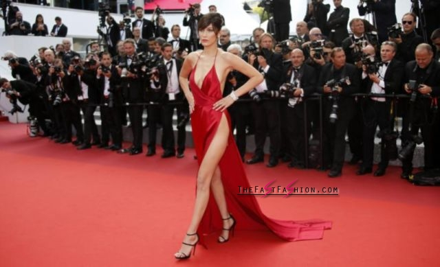 """Bella Hadid recently shared her own sexy photo showing a side boob on Instagram. Pictured: Hadid poses on the red carpet at the screening of the film """"La fille inconnue"""" (The Unknown Girl) at the 69th Cannes Film Festival in Cannes, France on May 18, 2016. Photo: REUTERS/Jean-Paul Pelissier"""