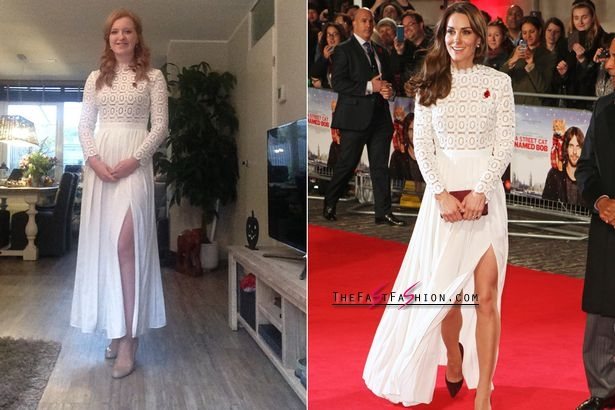 Valerie wearing the Self Portrait dress Kate wore to a film premiere (Photo: News Dog Media)