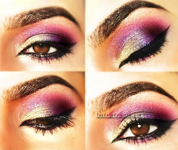 Colorful makeup for brown eyes