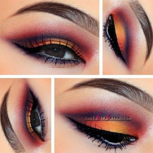 brown-eyes-orange-eyeshadow