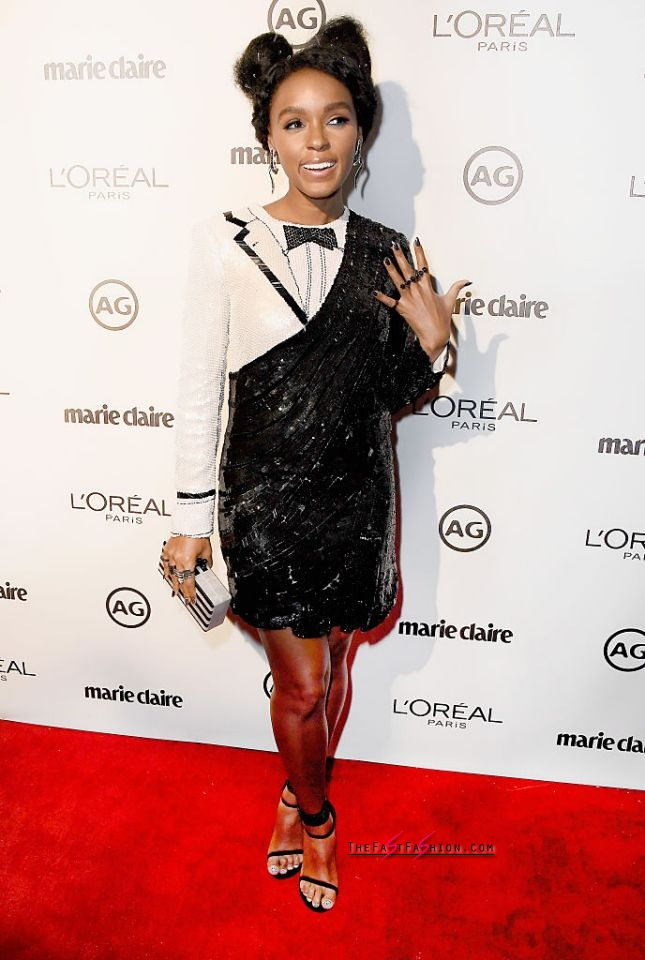 5 / 14 Janelle Monáe in Thom Browne Janelle Monáe, who is often spotted in the classic color combo, wore a sequined look that was half LBD, half tuxedo to Marie Claire's Image Maker Awards. (Photo: Getty Images)