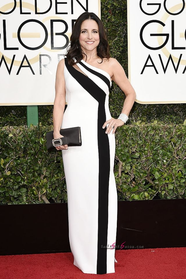 Julia Louis-Dreyfus in Georges Chakra The 55-year-old cut a sophisticated figure in a one-shoulder dress, Chopard jewels, Ferragamo shoes, and a Roger Vivier bag. (Photo: Getty Images)