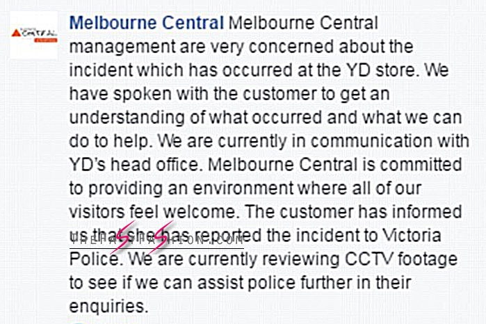 The shopping centre issued a response. Image: Facebook
