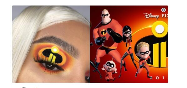 "Makeup Artist Creates ""Incredibles 2""-Themed Eyeshadow Look"