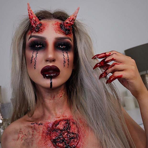 Gory Demon Makeup Idea - TheFastFashion.com