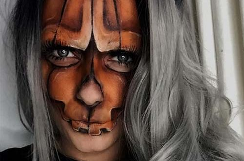 Pumpkin Skull Halloween Makeup Idea