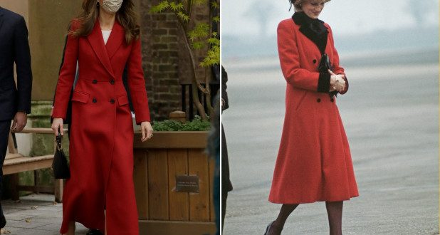 Kate Middleton channels Princess Diana in red coat