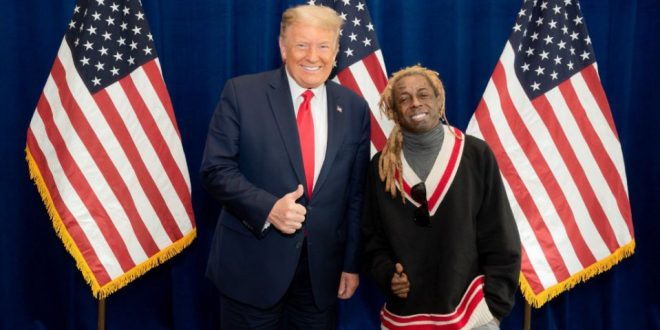 Rapper Lil Wayne gives thumbs up alongside Trump after discussing plan for Black Americans