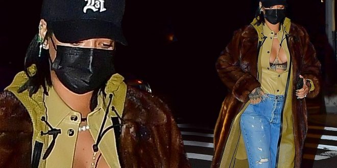 Rihanna shows off her curves in leather for dinner with A$AP Rocky