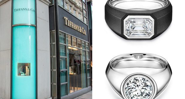 Two designs from Tiffany's new male engagement-ring collection